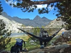 Hammock being used as a camp chair during a thru-hike of the John Muir Trail in California - Checkout our hammocks... http://www.osograndeknives.com/store/catalog/hammocks-tents-and-shelters-412-1.html