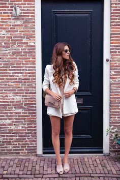 Mango Blazer  Zara Top Lace Shorts Nude Mules  Layered Necklace  Valentino Bag.