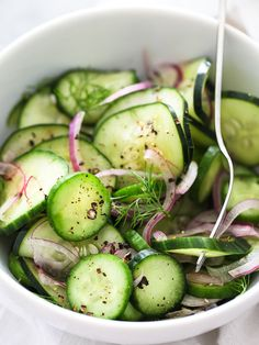 Dill Cucumber Salad - swap 5 drops stevia for the sugar in this tangy, fresh salad.