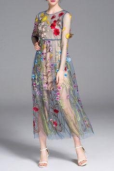 ZAFUL Runway Dresses Gorgeous Bohemian Sheer Mesh Flower Embroidery Party Long Maxi Women Dress Plus Size