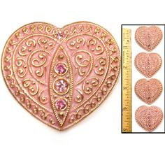 LG 30mm Vintage Czech Glass PINK GOLD Lace HEART w/PINK Rhinestones Buttons 4pc
