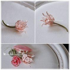 タティング ユリ咲きチューリップの立体モチーフ 完成。の画像:タティングレース便り ~アトリエ さかみち~