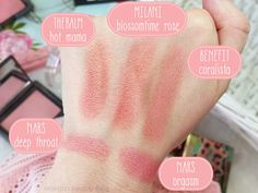 Mateja's Beauty Blog: Milani Powder Blush Blossomtime Rose vs. Benefit Coralista, theBalm Hot Mama, Nars Orgasm, Deep Throat, comparisons, swatches, dupes