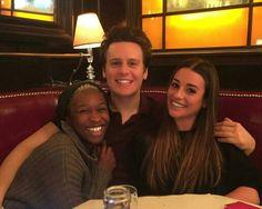 Jonathan Groff with Cynthia Erivo and Lea Michele, 9 Apr 2016