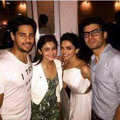 Too much of awesomeness in a pic!! Siddharth Malhotra, Alia Bhatt, Fawad khan in Deepika Padukone's Piku success party bash