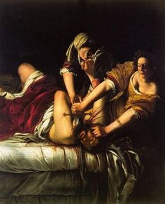 Judith Beheading Holofernes done by female painter Artemisia Gentileschi in the Baroque period.