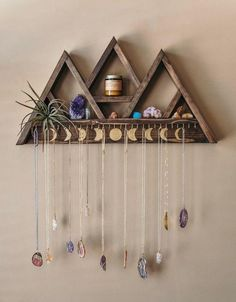 Large Triangle Shelf Jewelry Hanger – 30 Hooks Add this large jewelry hanger shelf to your home and display your crystal collection and jewelry in [. Triangle Shelf, Aesthetic Rooms, Diy Décoration, Diy Crafts, Jewelry Organization, Triangles, Boho Decor, Diy Furniture, Furniture Design