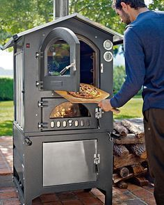 This a Williams-Sonoma Fontana Gusto Wood-Fired Outdoor Oven.I think I'll try to build me a small pizza oven. Outdoor Oven, Outdoor Cooking, Outdoor Kitchens, Outdoor Spaces, Outdoor Smoker, Gazebos, Wood Fired Oven, Wood Oven, Outdoor Living