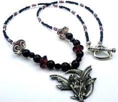 Purple, Black and Garnet Beaded Fairy Pendant Beaded Necklace, Necklaces, Bracelets, Black Fairy, My Birthstone, Pagan, Pewter, Birthstones, Garnet
