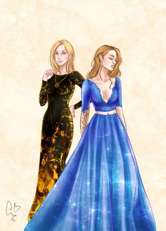 Aelin Ashryver Galathynius and Feyre Archeron from Sarah J. Maas's series Throne of Glass and A Court of Thorns and Roses probably my favourite two book series at the moment