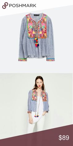 Short embroidered jacket with pom poms Light jacket, blue stripes with colorful embroidery... Tie closure with pom pom..... Main material 100% cotton, embroidery 100% polyester Zara Jackets & Coats