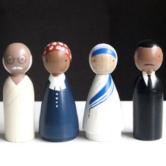 The Peace Makers peg dolls: Gandhi, Harriet Tubman, Mother Teresa, MLK Jr.