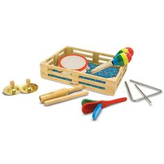 Melissa & Doug Band-in-a-Box Clap! Musical Instruments (Various Instruments, Wooden Storage Crate, Set, Great Gift for Girls and Boys - Best for and 6 Year Olds) Wooden Storage Crates, Crate Storage, Baby Girl Gifts, Gifts For Girls, Wooden Musical Instruments, Wooden Barn, Musical Toys, Melissa & Doug, Early Childhood