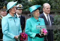 Queen Sonja of Norway, Queen Elizabeth II and Prince Philip The Duke of Edinburgh look on as Norway's King Harald unveils a statue of the late Queen Maud of Norway at the Norwegian Ambassador's Residence on October 27, 2005 in London, England.