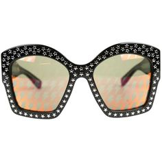 Pre-owned Gucci Oversized Sunglasses ($370) ❤ liked on Polyvore featuring accessories, eyewear, sunglasses, black, over sized sunglasses, logo sunglasses, star sunglasses, oversized glasses and studded sunglasses