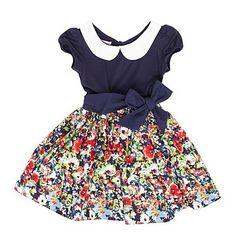 Nautical / floral navy peter pan collar girl's dress