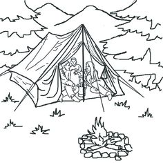 camping out with the family lets do some natural bonding here and learn about the environment - Camping Coloring Pages
