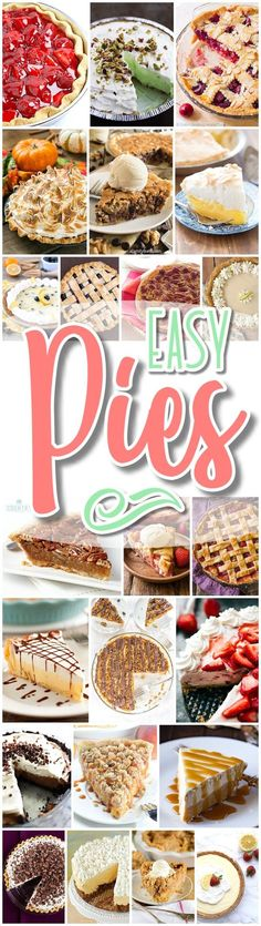 Favorite EASY Pies Recipes - Brunch Dessert No-Bake + Bake Musts for Holidays and Party Menus - Dreaming in DIY - Perfect for for Easter and Mother's Day Spring and Summer brunch dessert tables, of July barbecues, summer potlucks, neighborhood block p Dessert Party, Dessert For Dinner, Köstliche Desserts, Delicious Desserts, Dessert Recipes, Dessert Tables, Dessert Simple, Pie Dessert, Party Recipes