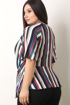 a999d3d22c379 Plus Size Striped Front-Tie Peplum Top