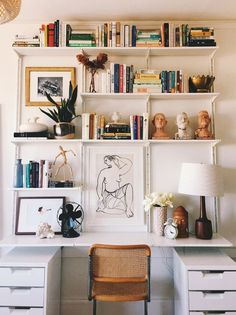 Photo by eliza kern ikea shelving hyllyratkaisut, itsetehty sisustus, sisus Ikea Wall Shelves, Wall Mounted Shelves, Ikea Wall Desk, Desk With Shelves, Office Wall Shelves, Wall Shelving, Wall Of Bookshelves, Ikea Shelves Bedroom, Long Wall Shelves