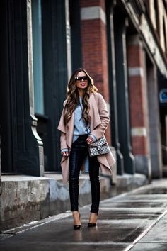 fashion blogger mia mia mine wearing a camel coat from nordstrom and black christian louboutin heels