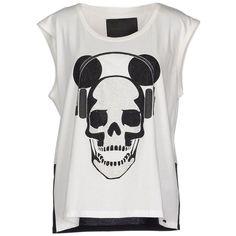 Philipp Plein Couture T-shirt ($245) ❤ liked on Polyvore featuring tops, t-shirts, shirts, white, white tee, white t shirt, sleeveless tops, logo shirts and rhinestone shirts