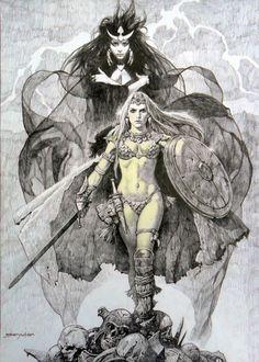 Sanjulian Huge Red Sonja piece for sale or trade Comic Art Comic Books Art, Comic Art, Illustrations, Illustration Art, Conan The Barbarian, Bd Comics, Red Sonja, Sword And Sorcery, Fantasy Artwork
