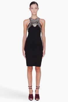 McQ Alexander McQueen Black Metal Embroidered Dress for women | SSENSE
