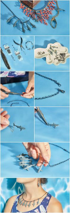 DIY this darling necklace in honor of shark week! A fun and easy step by step for a beginner jewelry maker, this shark-laden necklace is sure to stun!