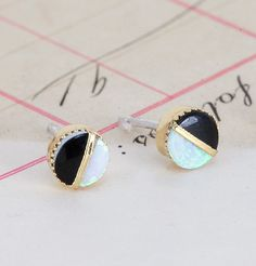 Black and White Studs - the jewelry version of black and white cookies!!
