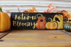 Fall Decor Wood Sign, Autumn Blessings Wood Sign, Pumpkin Patch Wood Sign, Rustic Distressed Primitive Sign, Autumn Decor Sign, HandPainted by TinSheepShop on Etsy
