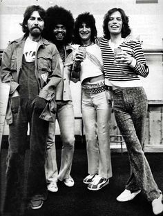 George Harrison, Billy Preston, Ronnie Wood & Mick Jagger