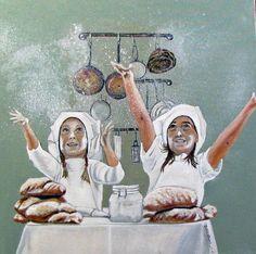 Broodbakken, olieverf op doek geschilderd door John Dunk