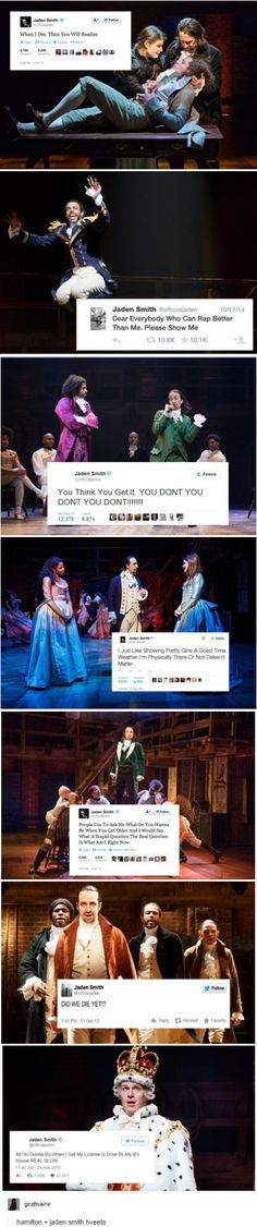 Hamilton + Jaden Smith tweets- the top one is so true. you never know what you have till it's gone.