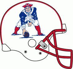 New England Patriots Helmet Logo - White helmet, crouching logo with red and blue stripes, white facemask New England Patriots Helmet, Nfl Football Helmets, Football Stuff, American Football League, Alabama Football, Nfl Uniforms, Nfl Detroit Lions, Helmet Logo, Football Images