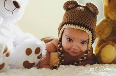 Medium Brown Bear Crocheted Hat with or without Flower Available in Any Size or Color Combination on Etsy, $13.50