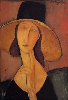 Amedeo Modigliani (1884 -1920) | Expressionism | Portrait of Jeanne Hebuterne in a large hat - 1918