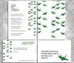 Wedding Invitation Paper Crane. Party Invitation and RSVP. Custom.