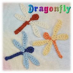 crochet dragonfly patterns | Crochet Patterns for Motifs for Scrapbooking, card making amd applique ...