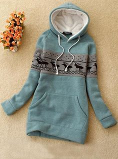 Green Deer Pullover Hooded Sweatshirt for my lazy days