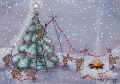 """The Rabbits Do Christmas"" original aceo painting by Deborah Gregg #Christmas"