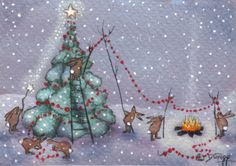 """The Rabbits Do Christmas"" original aceo painting by Deborah Gregg #Christmas"
