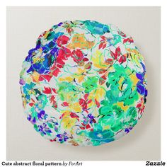 Cute abstract floral pattern round pillow Round Pillow, Soft Pillows, Party Hats, Soft Fabrics, Vibrant Colors, Art Pieces, Shapes, Texture, Abstract