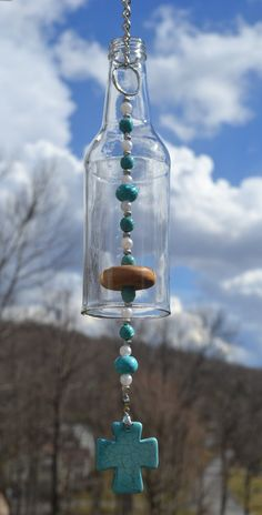 Beer Bottle Wind Chime/Turquoise Cross Wind by WhiteRoosterShoppe