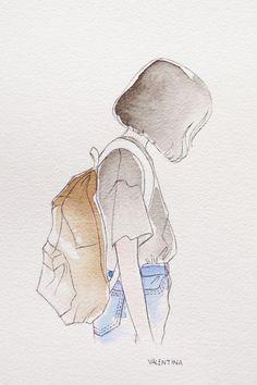 59 New Ideas Drawing Girl Sad Sketches Art Sad Sketches, Art Drawings Sketches, Cute Drawings, Girl Drawings, Amazing Drawings, Watercolor Girl, Watercolor Paintings, Watercolour, Simple Watercolor
