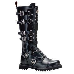 6-Buckle Knee High Combat Boots