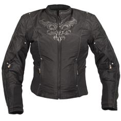 Xelement Women's CF-2366A1 Black Armored Tri-Tex Jacket with Reflective Tribal Graphics