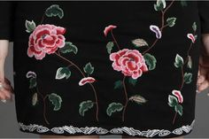 2015 new arrival brand chinese style rose embroidery button long sleeve black cotton women elegant autumn winter dress #0218