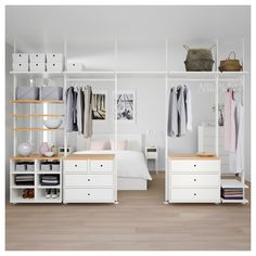 IKEA ELVARLI 5 sections White/bamboo 385 x 51 x cm You can always adapt or complete this open storage solution as needed. Maybe the combination we've suggested is perfect for you, or you can easily create your own. Ikea Closet, Closet Bedroom, Elvarli Ikea, Bedroom Furniture, Bedroom Decor, Ikea Bedroom, Diy Furniture, Bedroom Ideas, Closet Designs