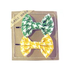 Green and Yellow Houndstooth   Hair bows  Set of Two by Fr33na, $7.99